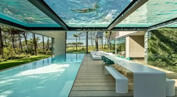 luxury villa This Luxury Villa in Portugal has a Ridiculously Cool Glass Bottom Pool 01 Wall House Luxury Residence Cascais Lisbon Portugal 750x410
